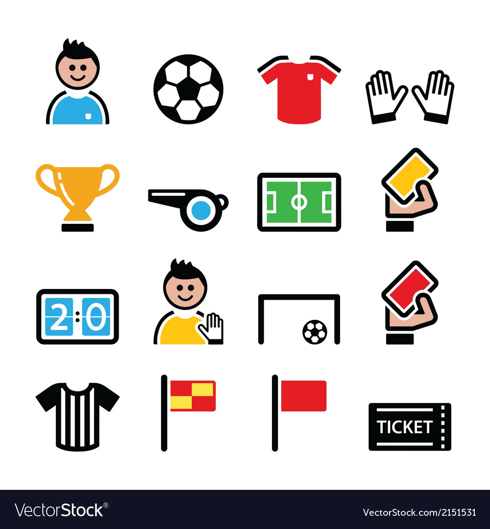 Soccer or football colorful icons set vector | Price: 1 Credit (USD $1)