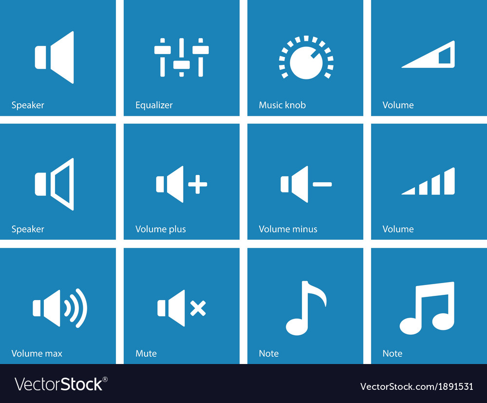 Speaker icons on blue background volume control vector | Price: 1 Credit (USD $1)
