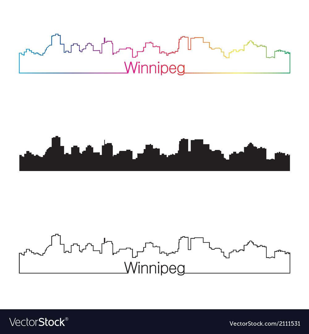Winnipeg skyline linear style with rainbow vector | Price: 1 Credit (USD $1)
