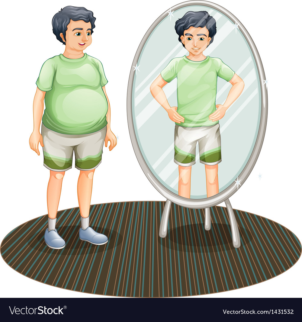 A fat man outside the mirror and a skinny man vector | Price: 1 Credit (USD $1)