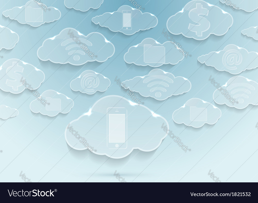 Clouds with icons - computing concept vector | Price: 1 Credit (USD $1)