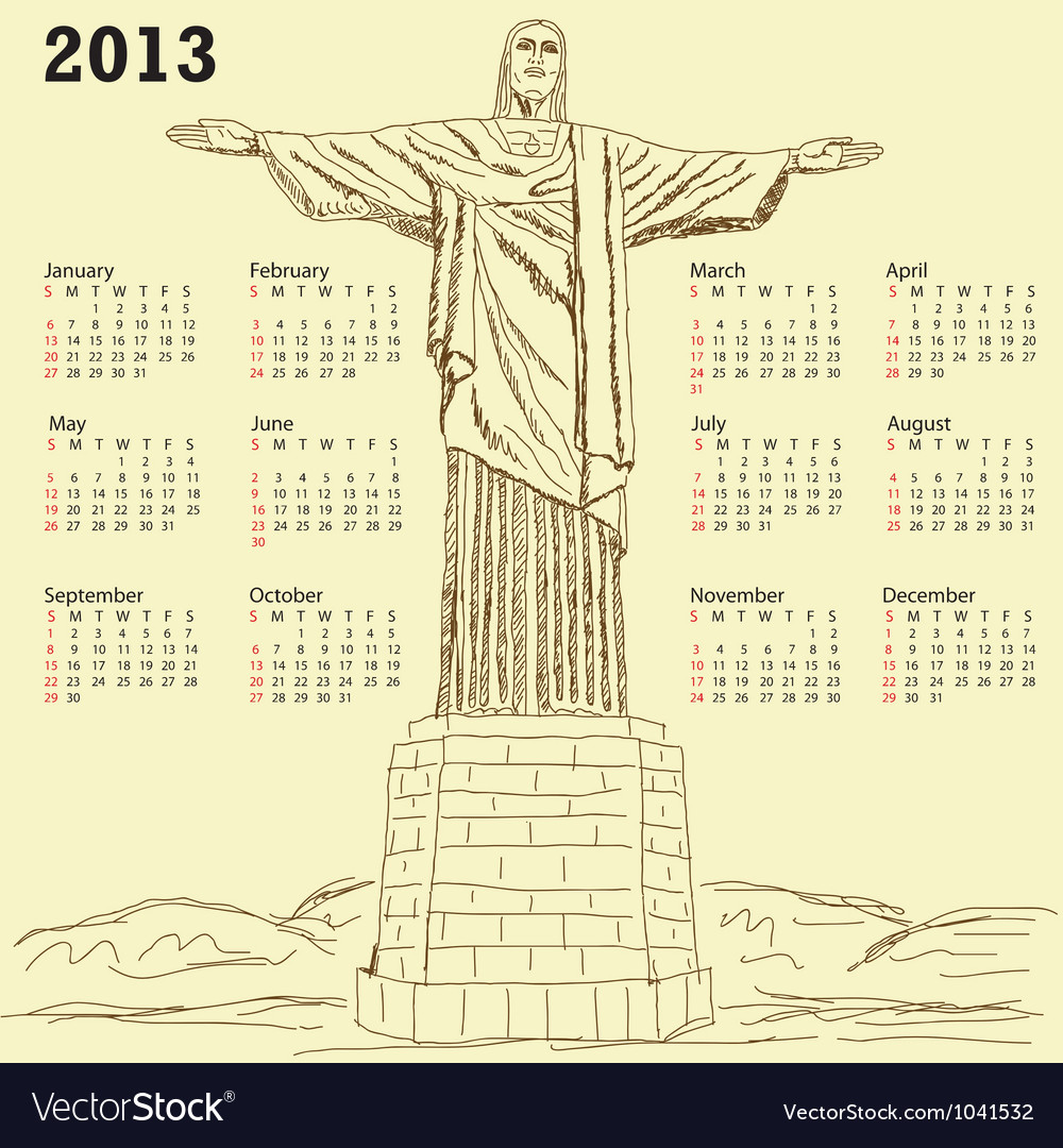 Cristo redentor 2013 calendar vintage vector | Price: 1 Credit (USD $1)