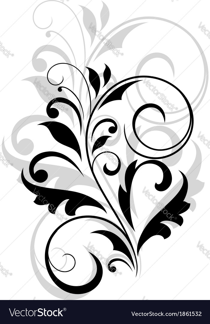 Floral motif in black and grey over white vector | Price: 1 Credit (USD $1)