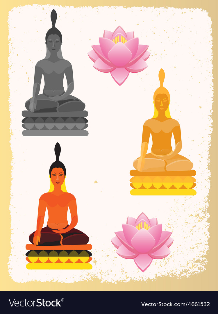 Lotus flower and buddha vector | Price: 1 Credit (USD $1)