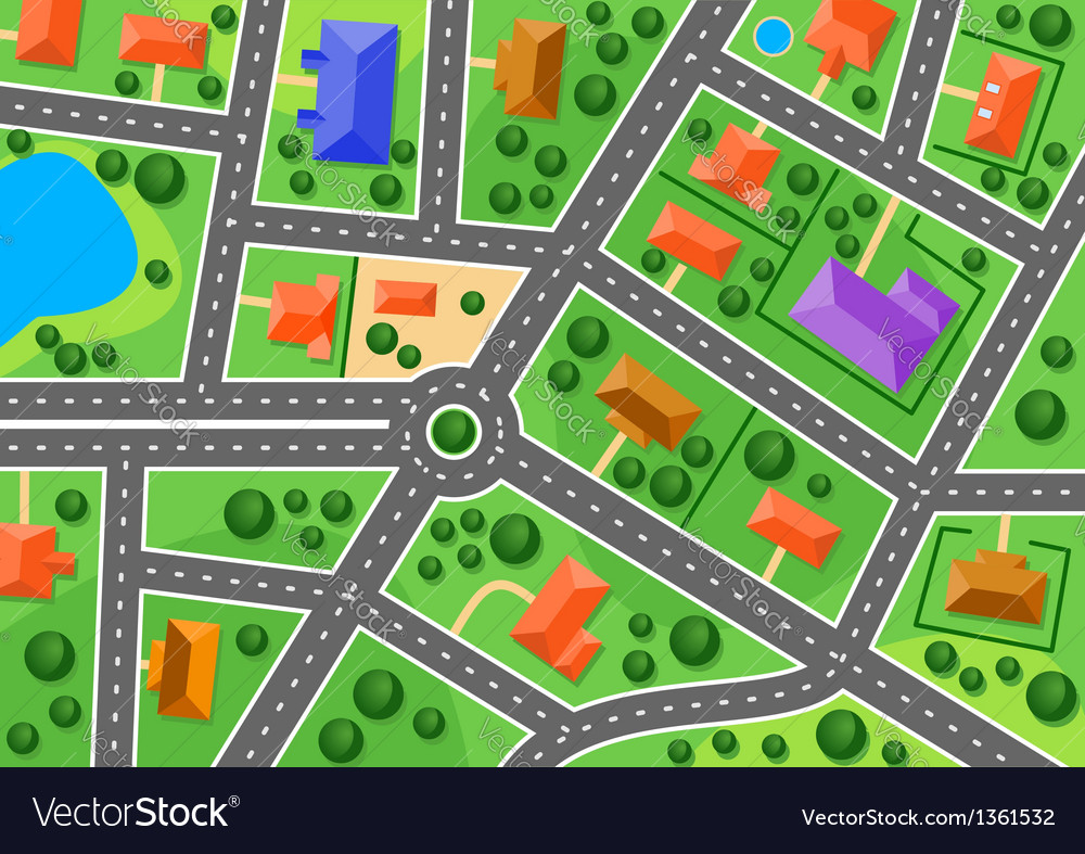 Map of suburb or little town vector | Price: 1 Credit (USD $1)