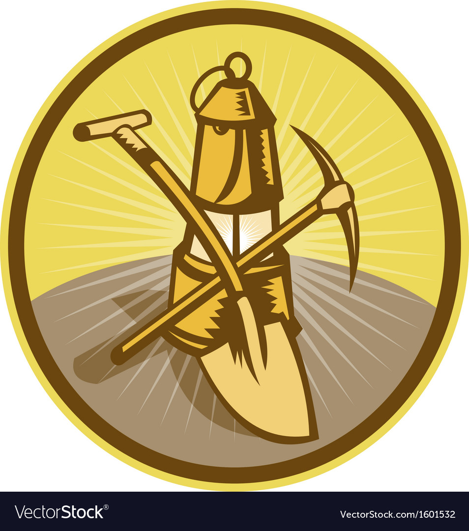 Mining or miners lamp with shovel and pick axe vector | Price: 1 Credit (USD $1)