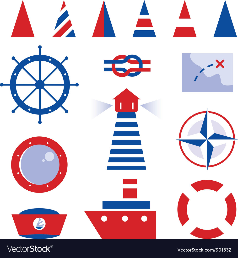 Sailor and sea icons isolated on white vector | Price: 1 Credit (USD $1)