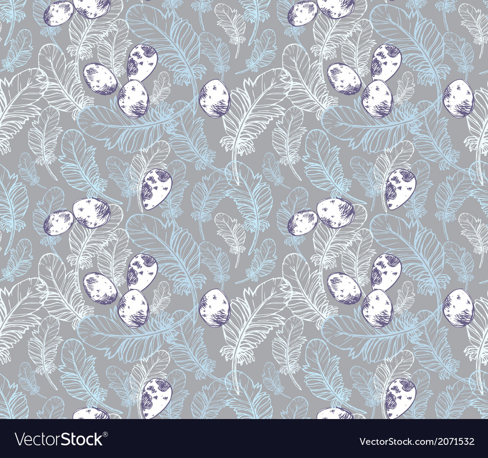 Seamless pattern with feathers and eggs vector | Price: 1 Credit (USD $1)