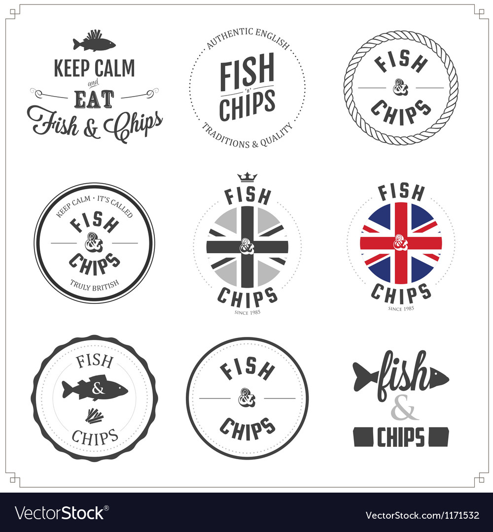 Set of fish and chips labels and badges vector | Price: 1 Credit (USD $1)