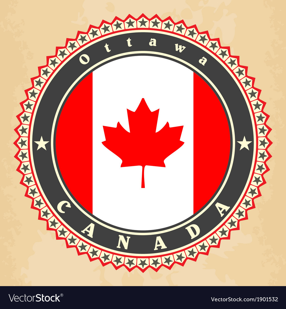Vintage label cards of canada flag vector | Price: 1 Credit (USD $1)