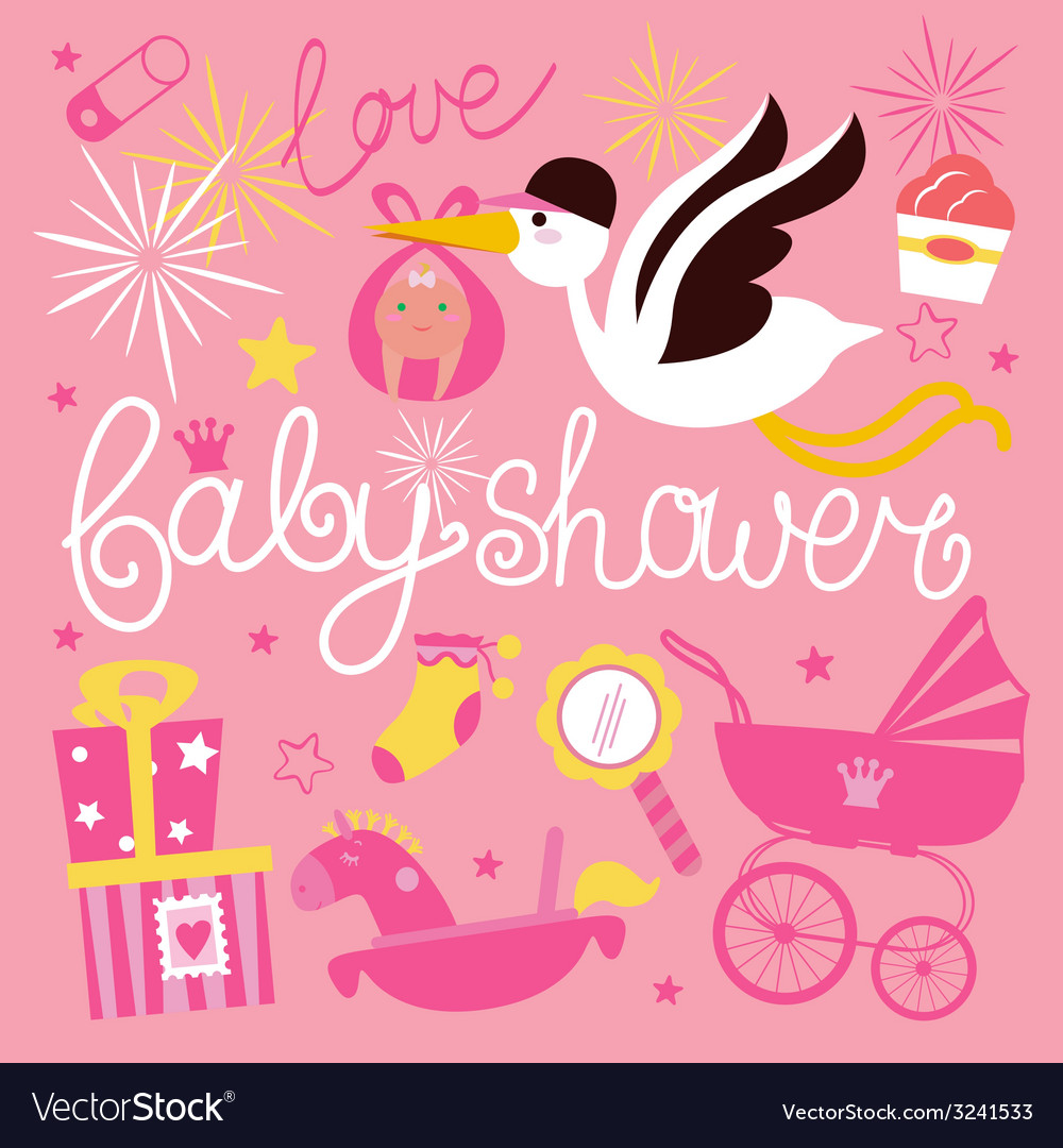 Baby shower composition for girl vector | Price: 1 Credit (USD $1)