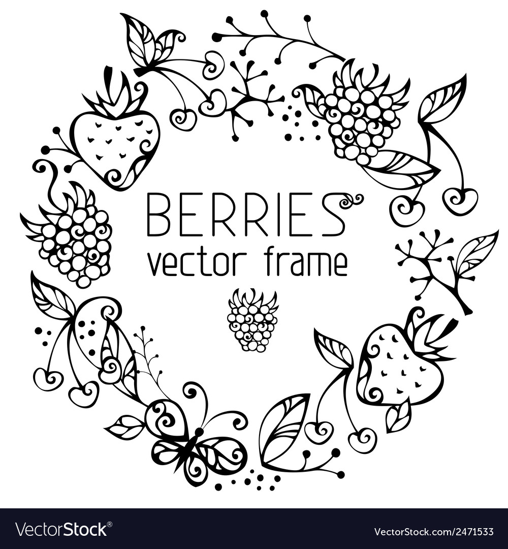 Berries frame vector | Price: 1 Credit (USD $1)
