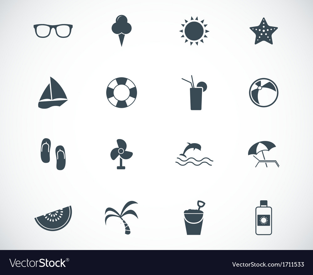 Black summer icons set vector | Price: 1 Credit (USD $1)