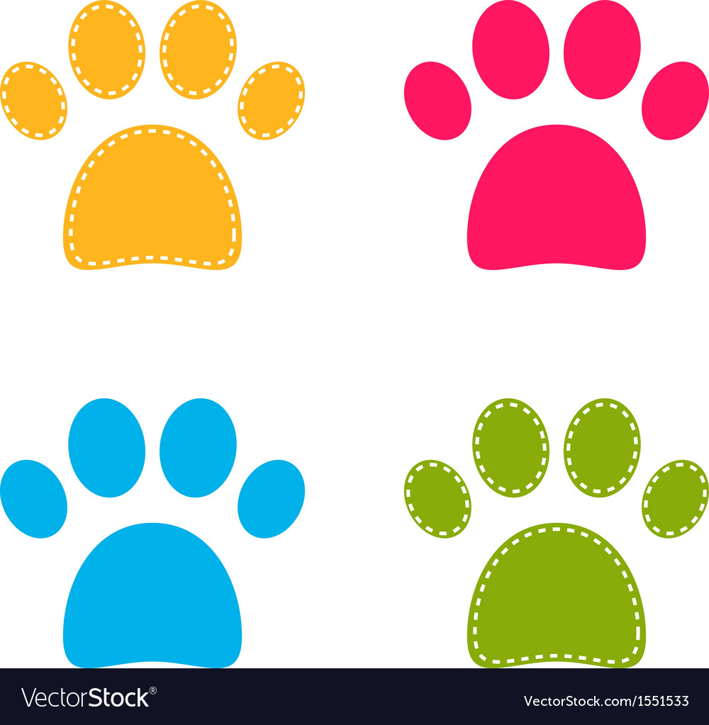 Cute colorful doggie paws isolated on white vector | Price: 1 Credit (USD $1)