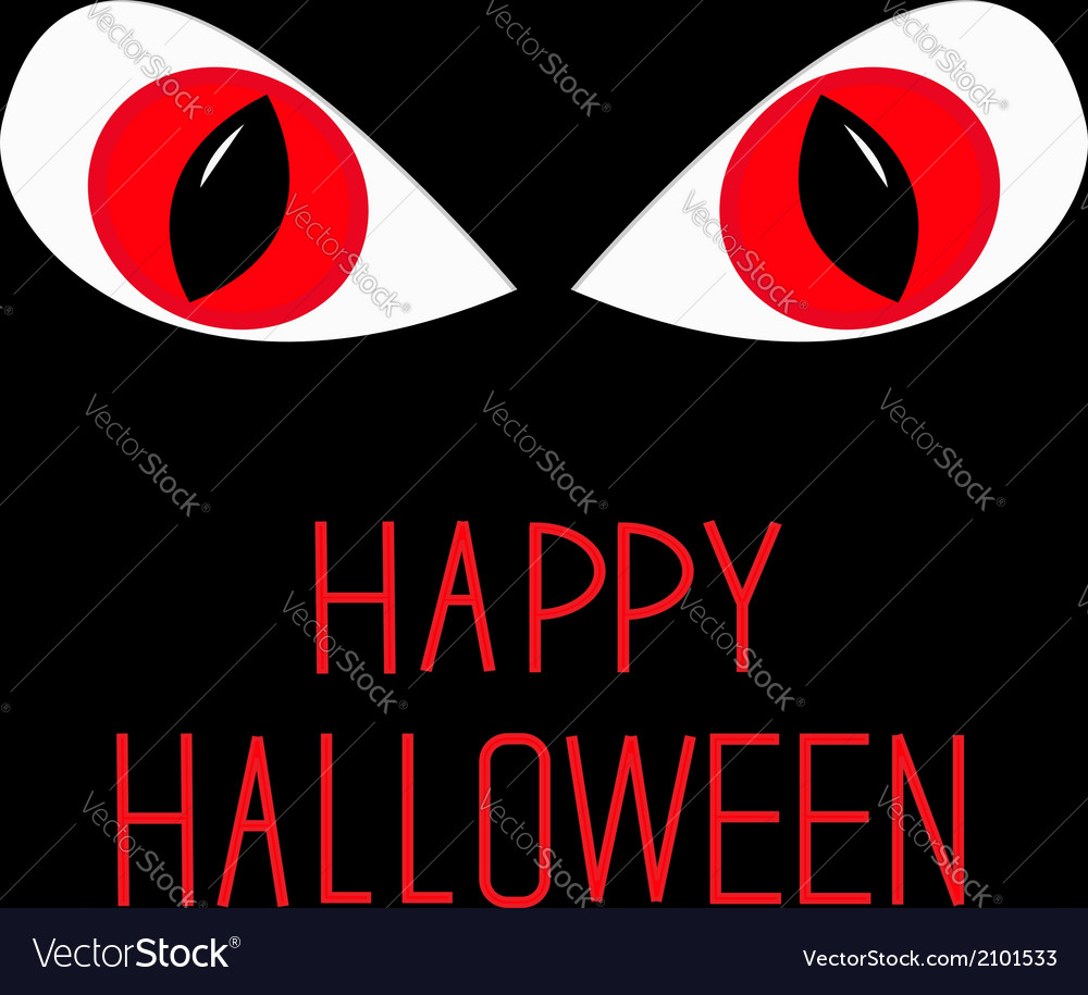 Evil red eyes in dark night happy halloween card vector | Price: 1 Credit (USD $1)