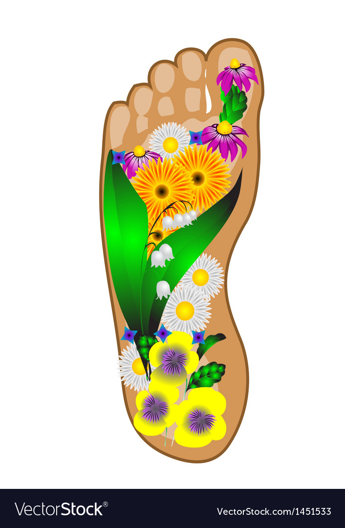 Foot with flowers vector | Price: 1 Credit (USD $1)
