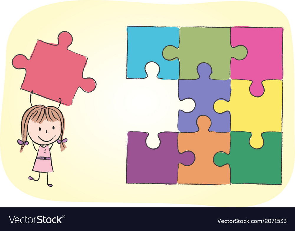 Girl solving puzzle vector | Price: 1 Credit (USD $1)