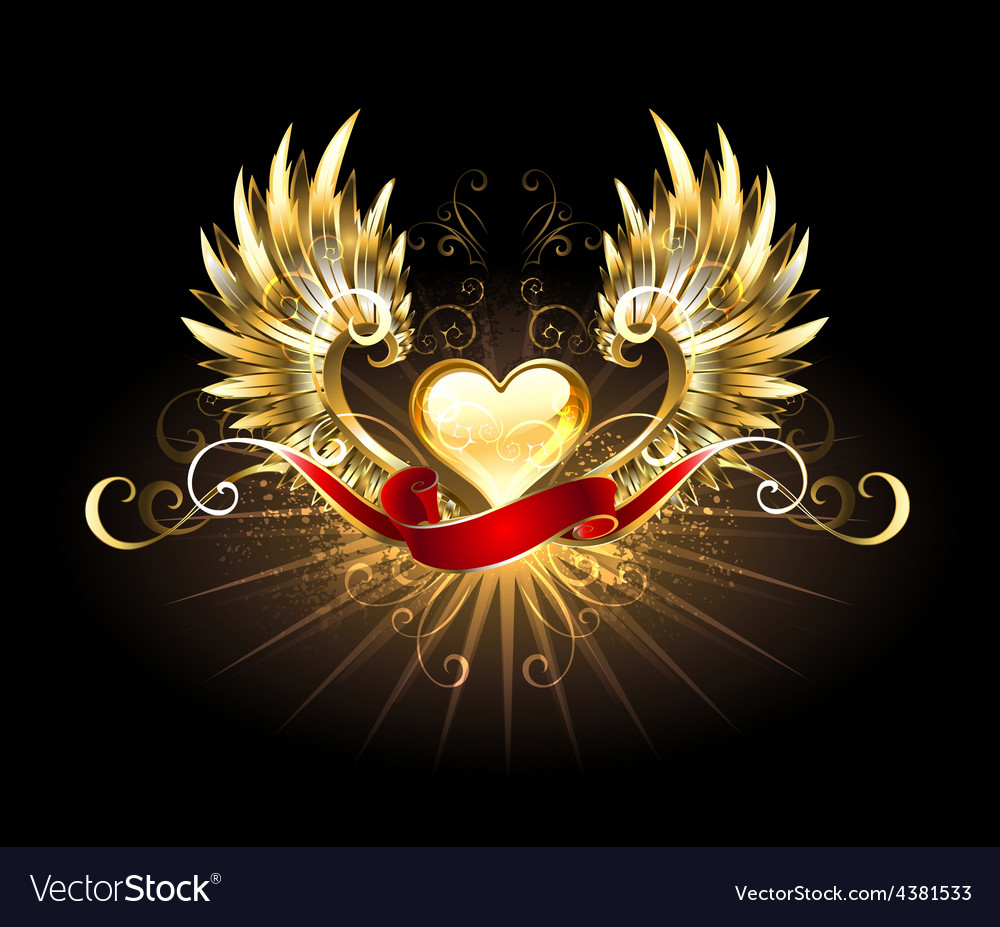 Golden heart with golden wings vector | Price: 3 Credit (USD $3)