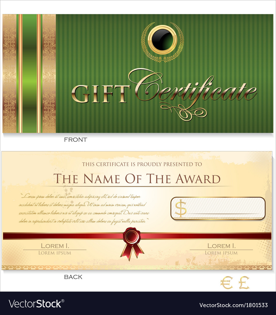 Green gift certificate template vector | Price: 1 Credit (USD $1)