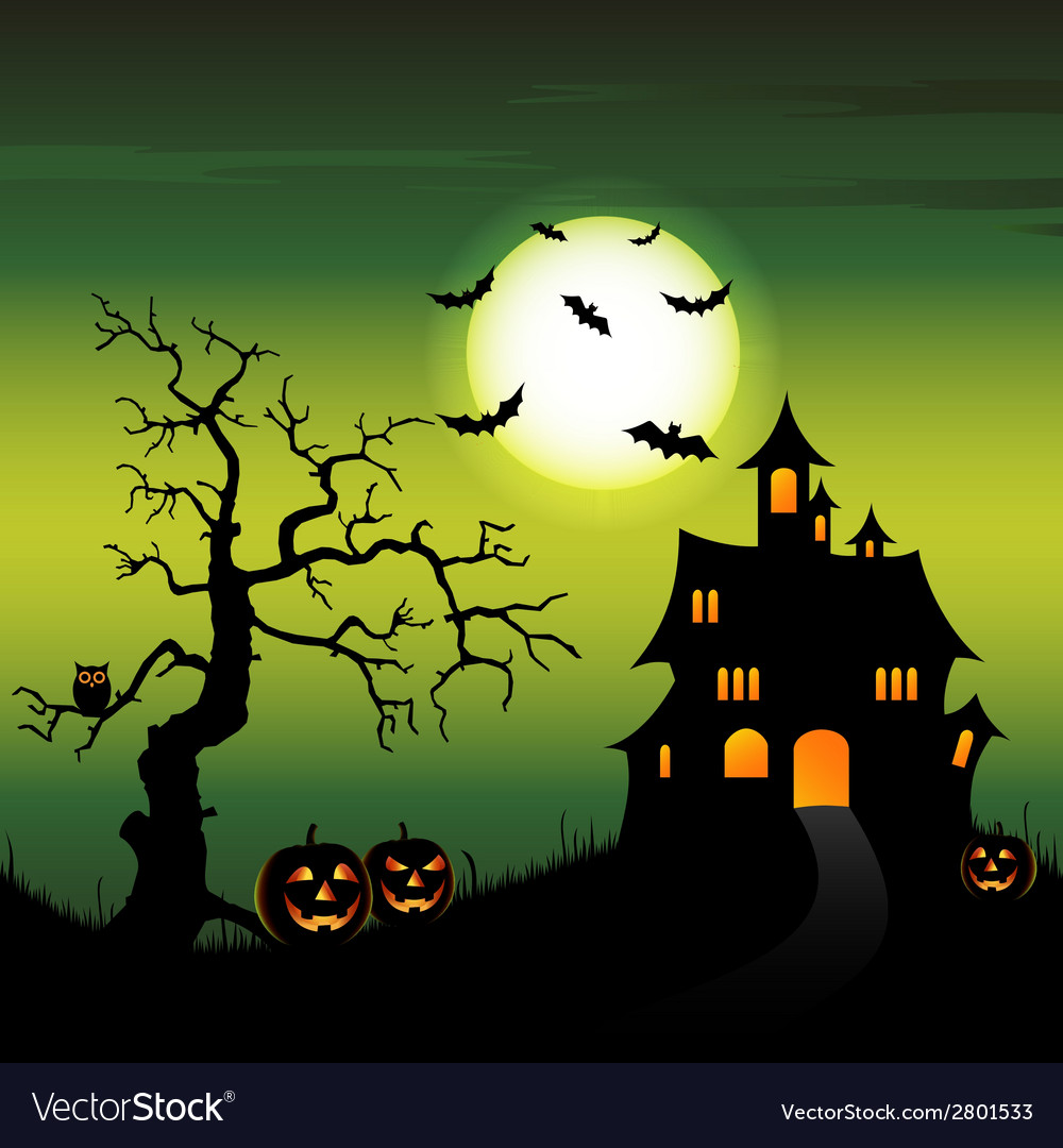 Halloween night backdrop with castle and pumpkins vector | Price: 1 Credit (USD $1)