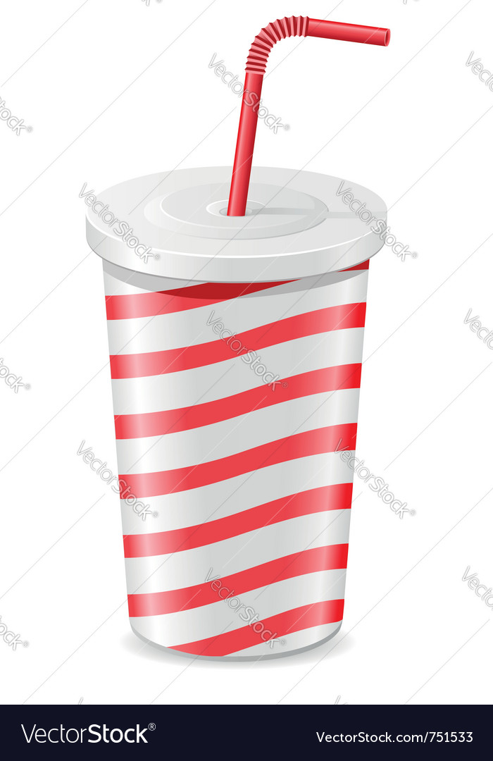 Paper cup with soda isolated on white background vector | Price: 1 Credit (USD $1)