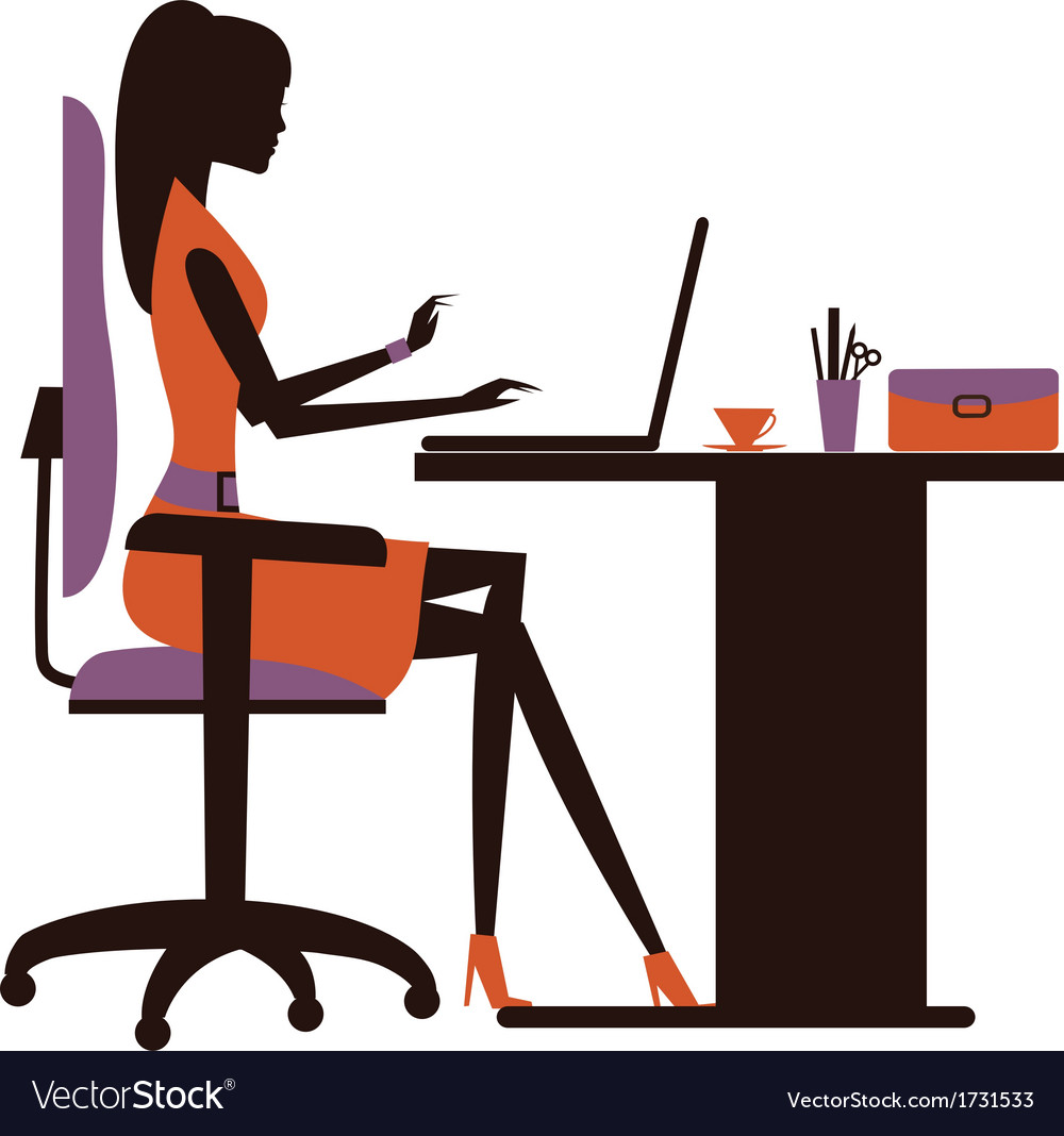 Silhouette of woman working on laptop vector | Price: 1 Credit (USD $1)