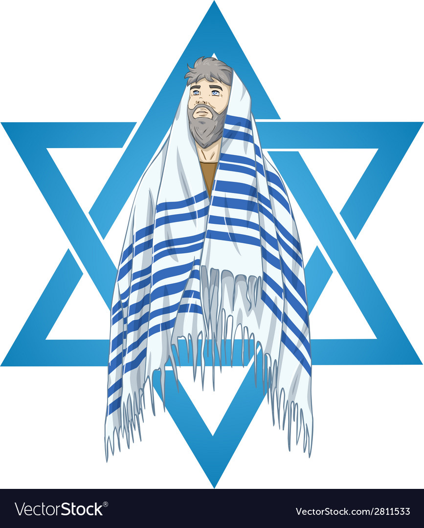 Star of david rabbi with talit vector | Price: 3 Credit (USD $3)