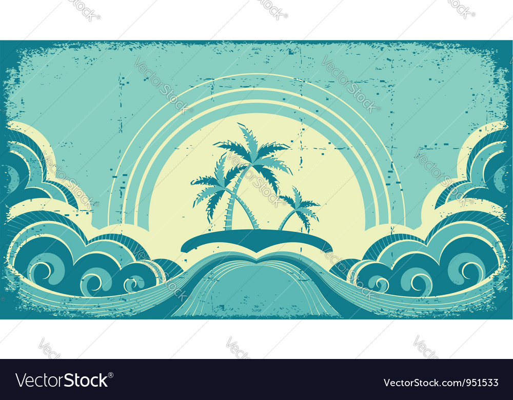 Vintage seascape with tropical palmsnature image vector | Price: 1 Credit (USD $1)