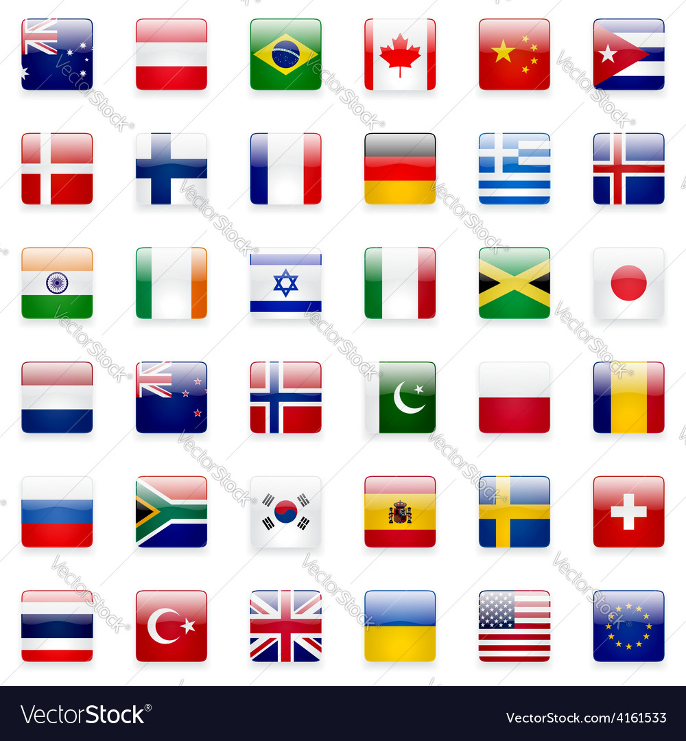 World flags icon set vector | Price: 3 Credit (USD $3)