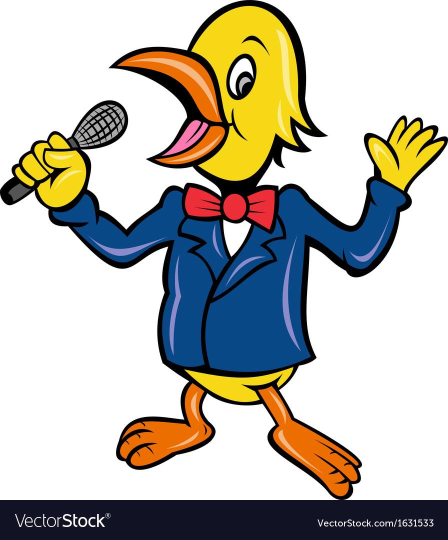 Yellow bird singing microphone karaoke vector
