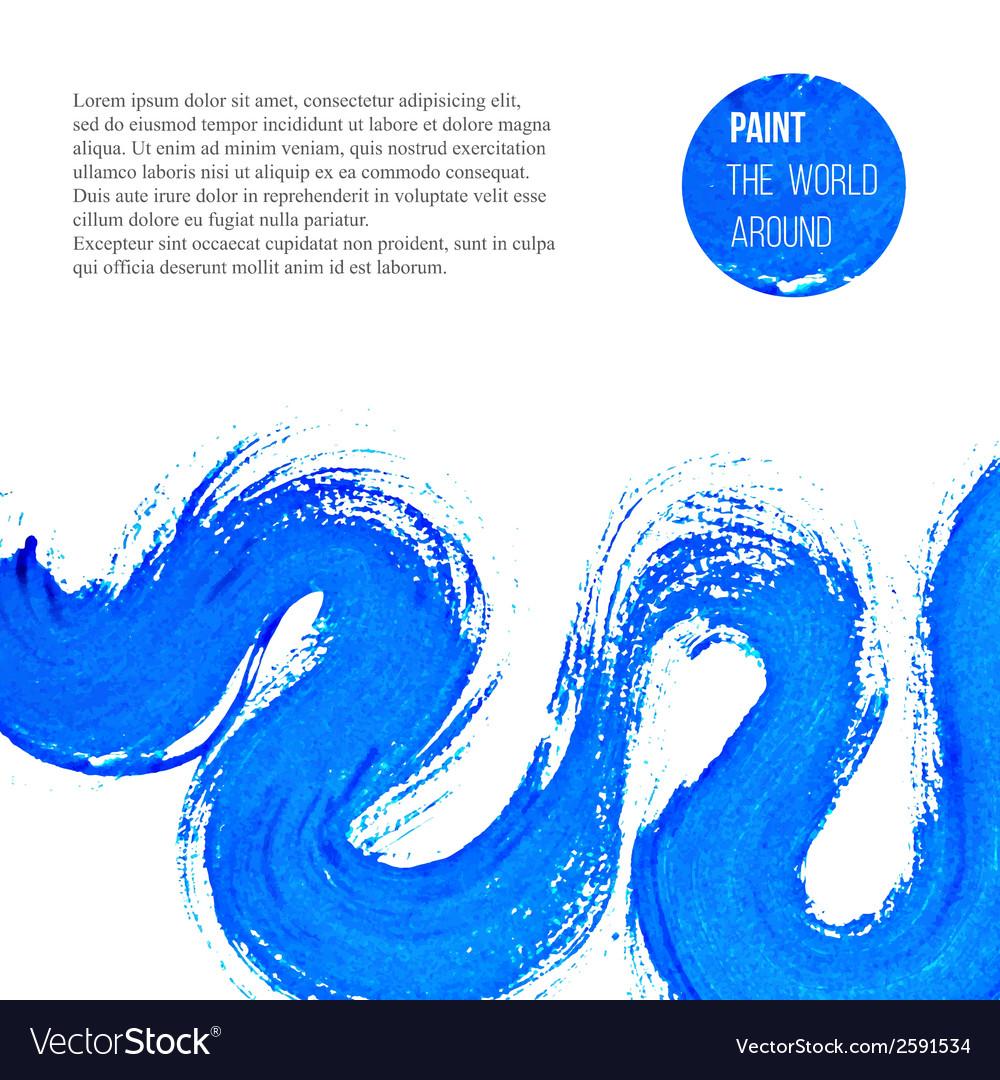 Abstract blue brush stroke vector