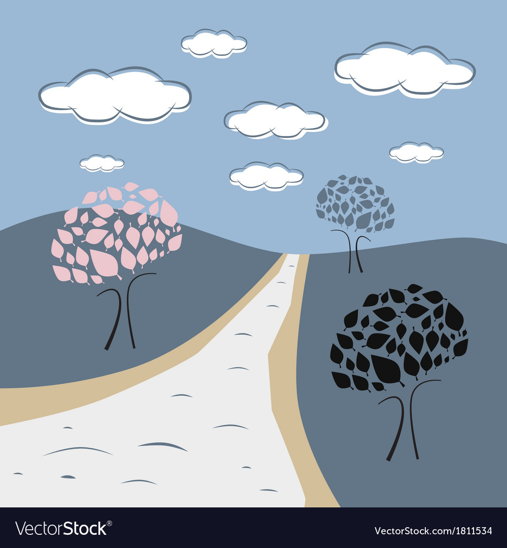Abstract nature scene with trees road hills clouds vector   Price: 1 Credit (USD $1)