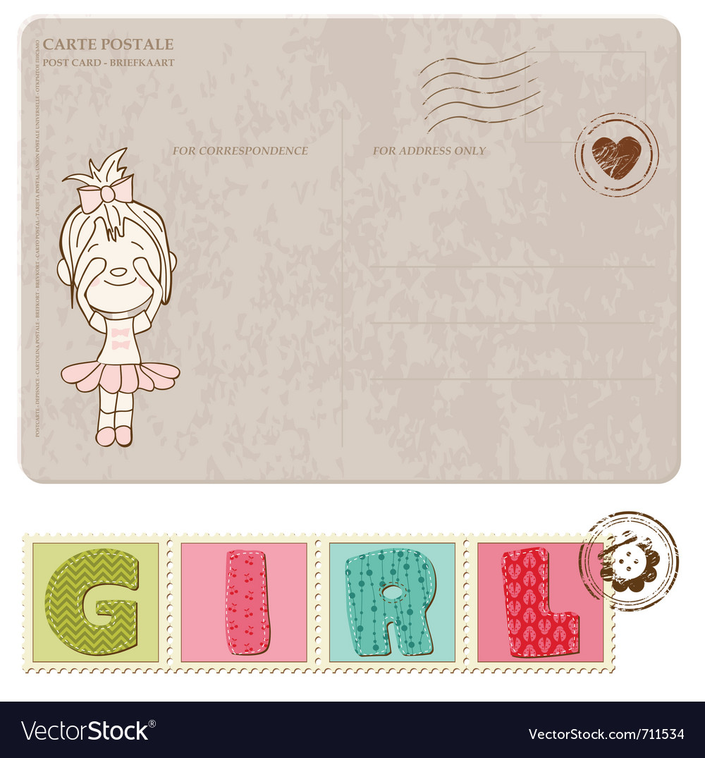 Baby girl arrival postcard with set of stamps vector | Price: 1 Credit (USD $1)