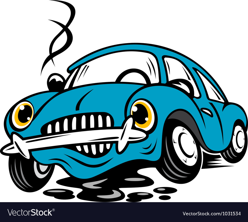 Broken car in cartoon style for repair or service vector | Price: 1 Credit (USD $1)