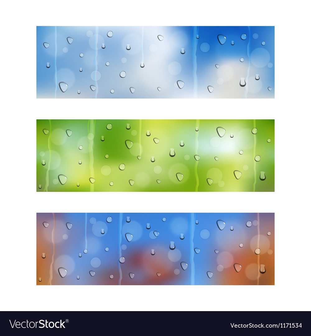 Drops on window glass seamless banners vector | Price: 1 Credit (USD $1)