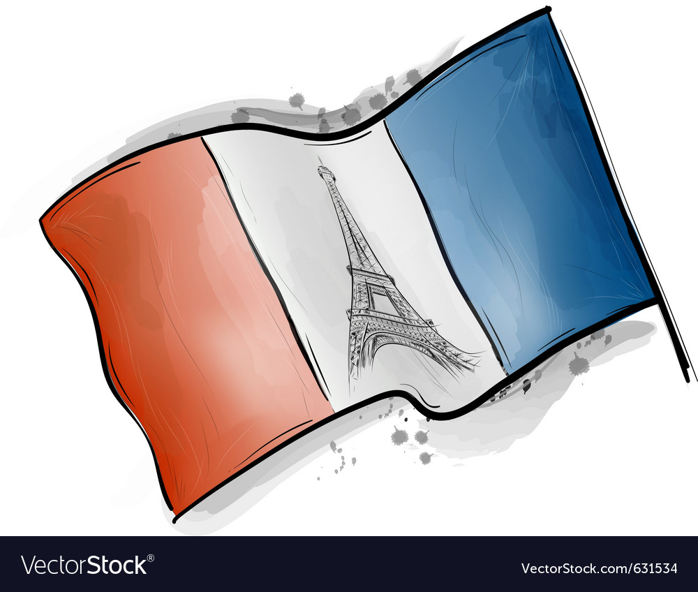 Eiffel tower on the flag vector | Price: 1 Credit (USD $1)
