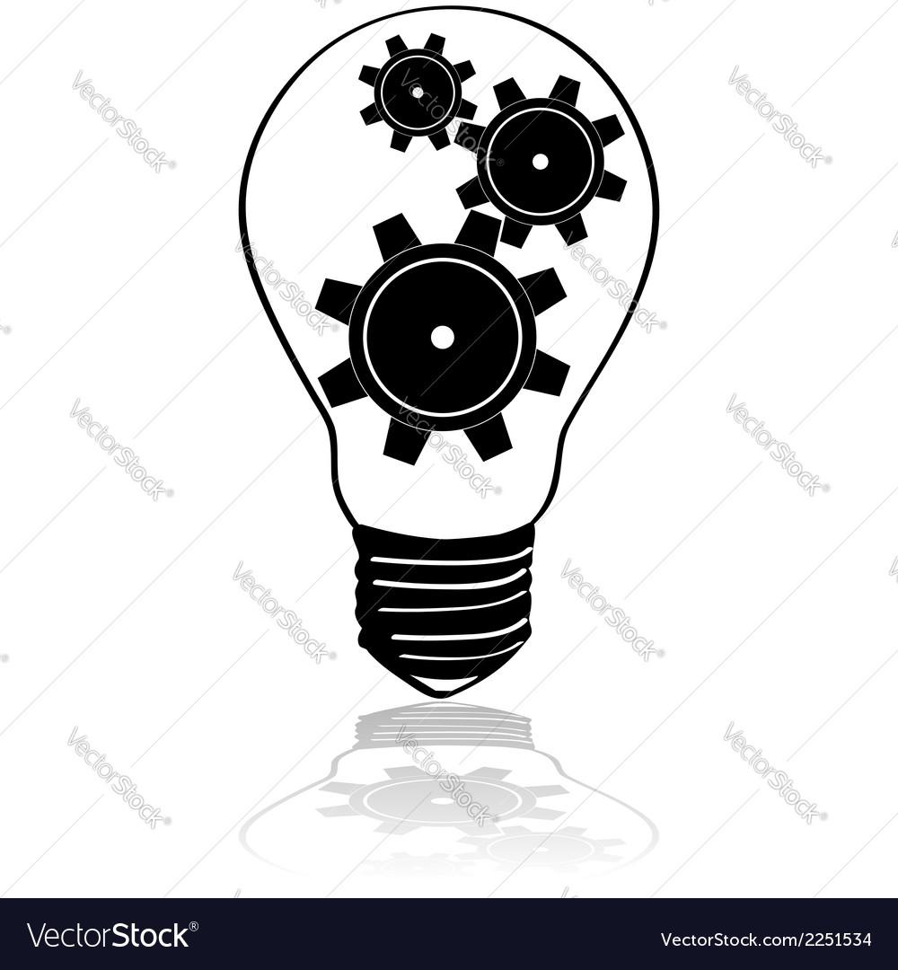 Gears inside lightbulb vector | Price: 1 Credit (USD $1)