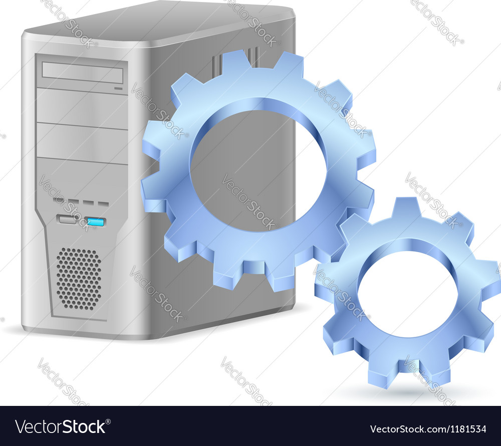 Gearwheel with computer vector | Price: 1 Credit (USD $1)