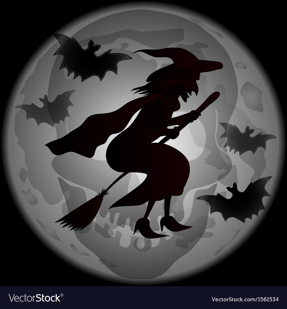 Halloween witch dark silhoette vector | Price: 1 Credit (USD $1)