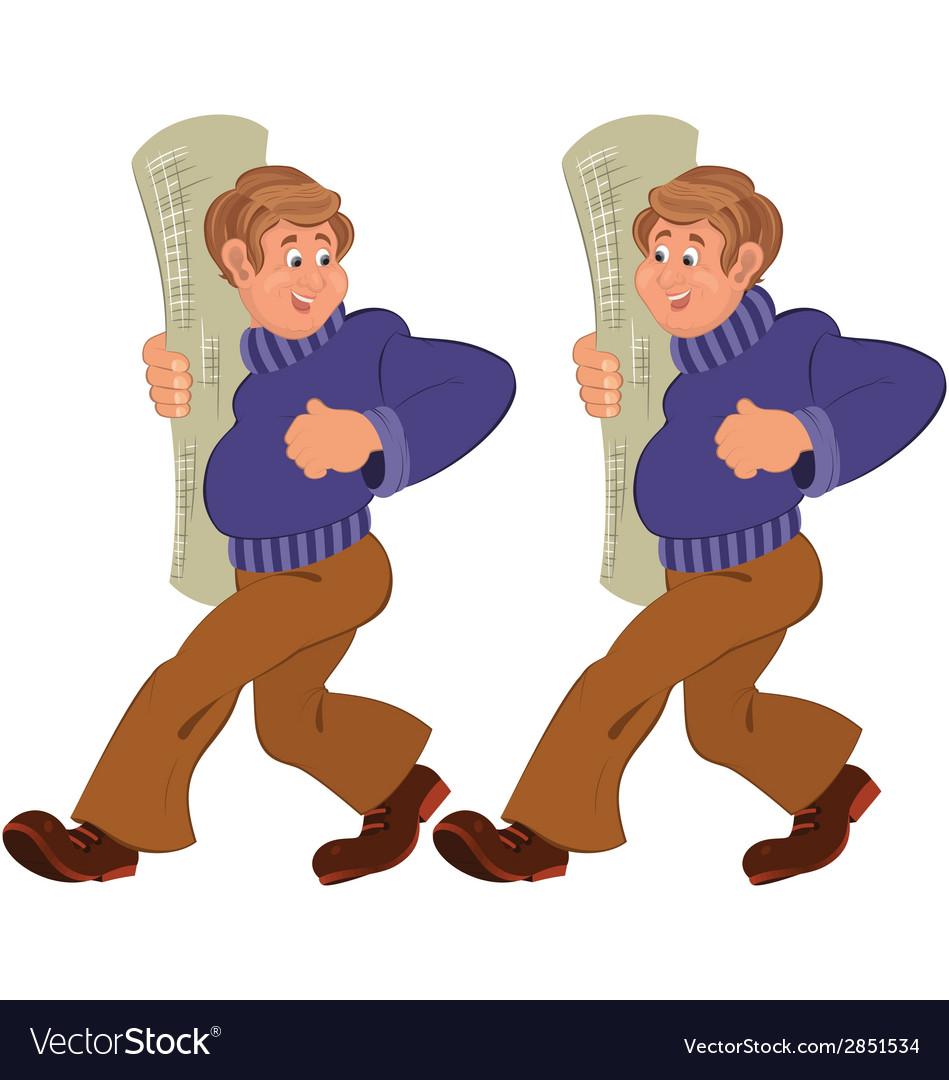 Happy cartoon man walking in purple sweater with vector   Price: 1 Credit (USD $1)