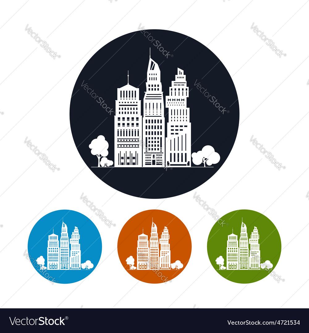 Icon modern big city vector   Price: 1 Credit (USD $1)