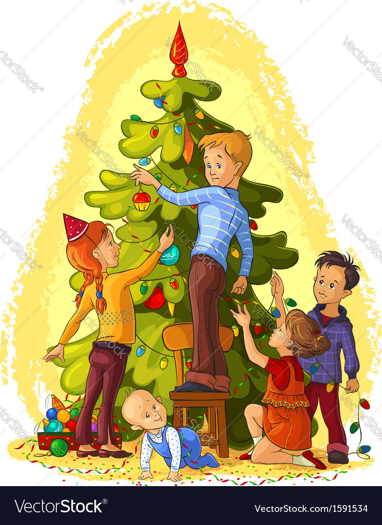 Kids decorating a christmas tree vector | Price: 5 Credit (USD $5)