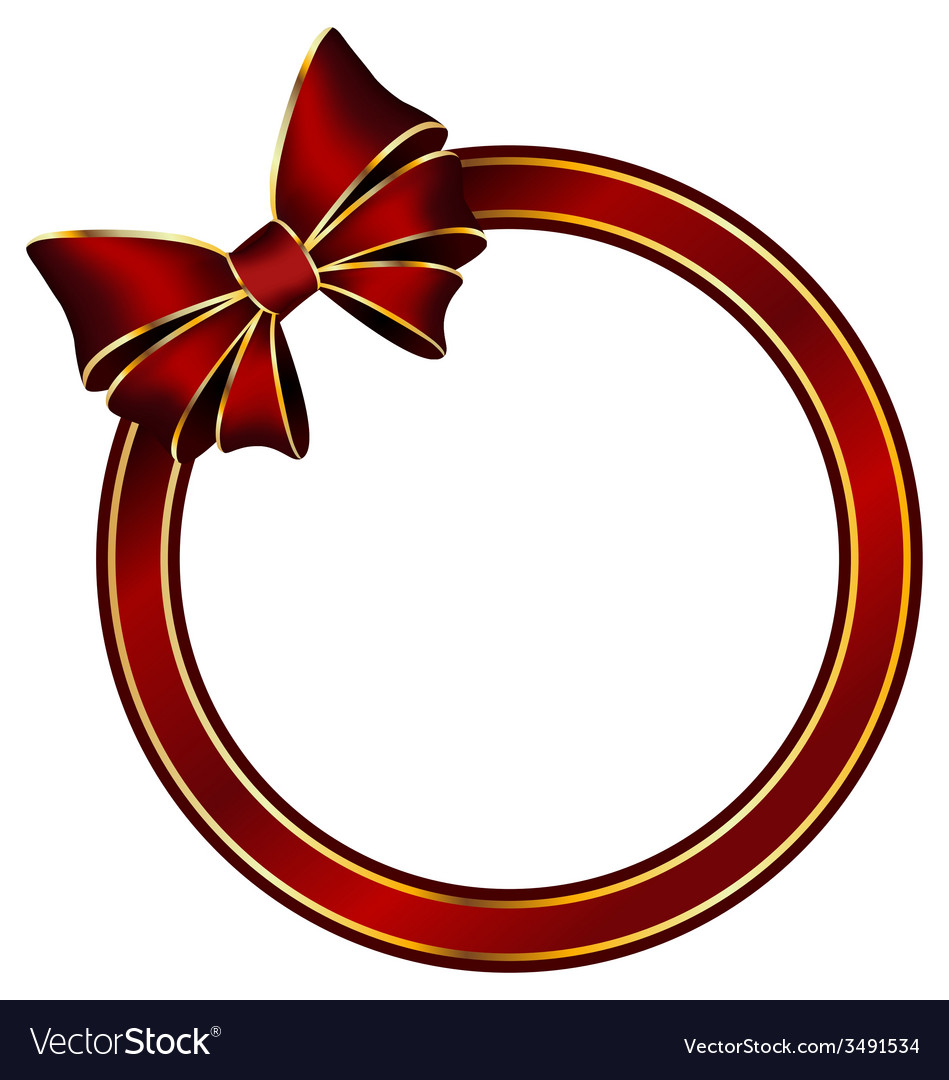 Red frame ring with silk bow vector | Price: 1 Credit (USD $1)