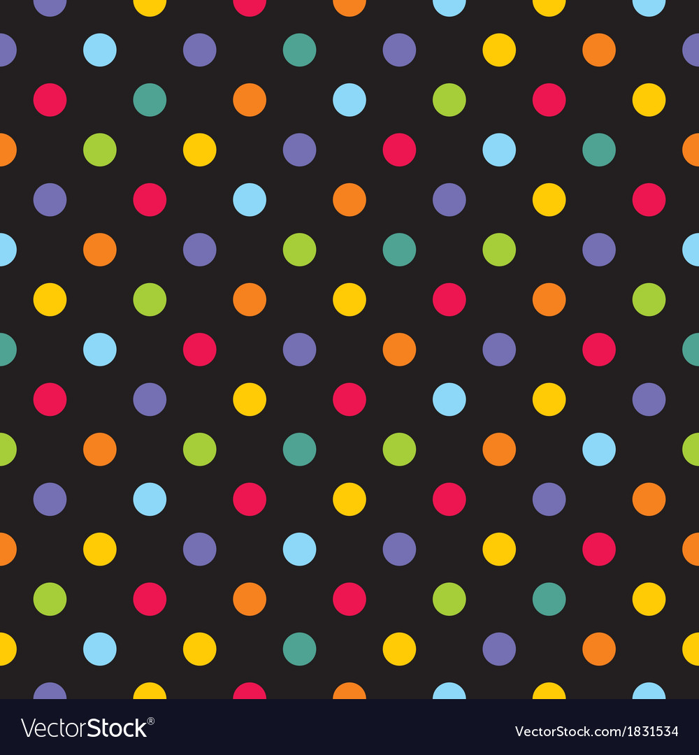 Seamless dark pattern with colorful polka dots vector | Price: 1 Credit (USD $1)