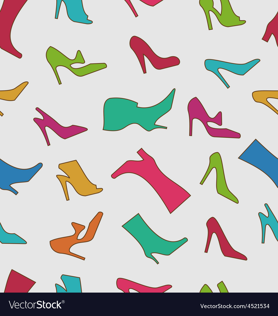 Seamless pattern with colorful women footwear vector | Price: 1 Credit (USD $1)