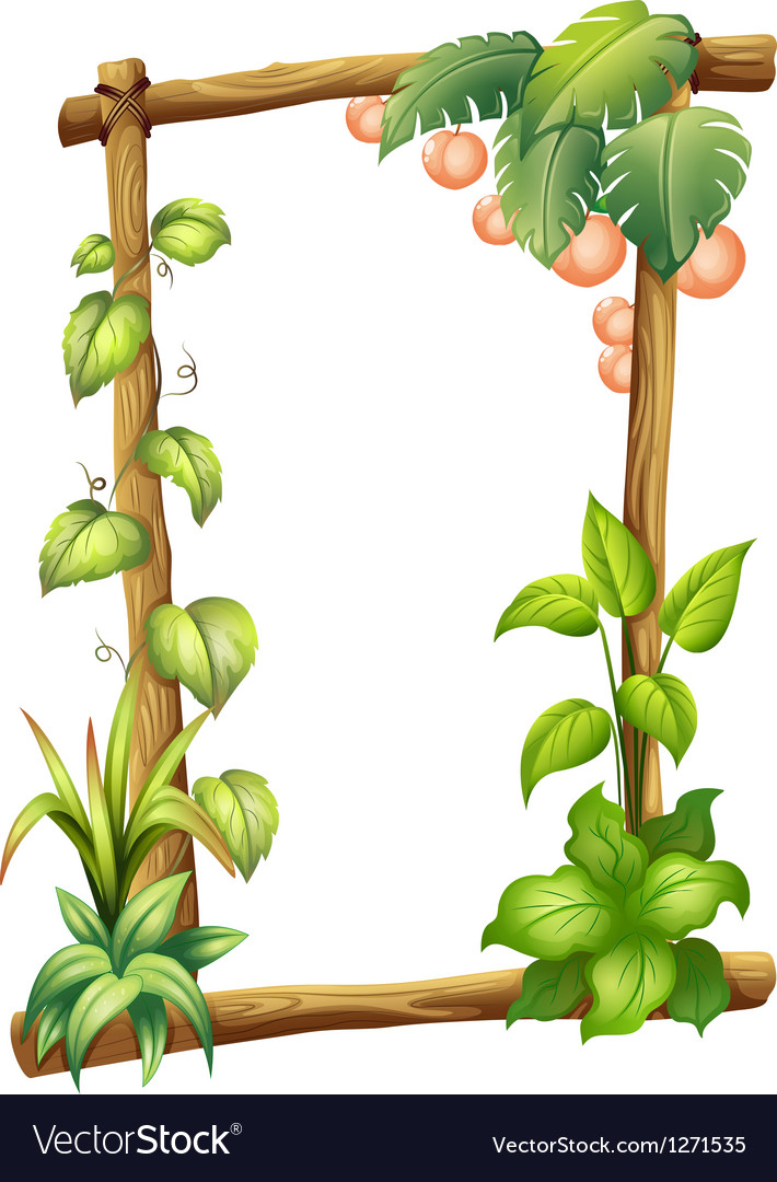 A frame made of woods with plants vector