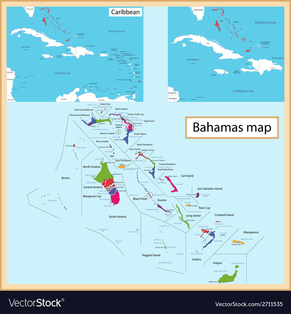The bahamas map vector | Price: 1 Credit (USD $1)
