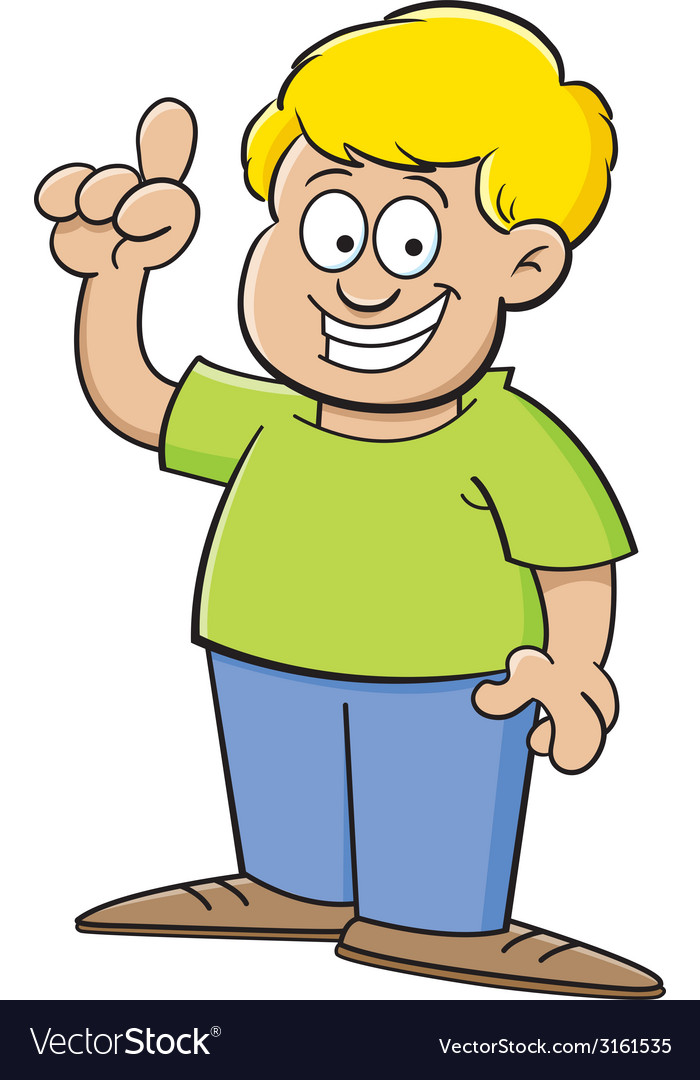Cartoon boy pointing vector | Price: 1 Credit (USD $1)