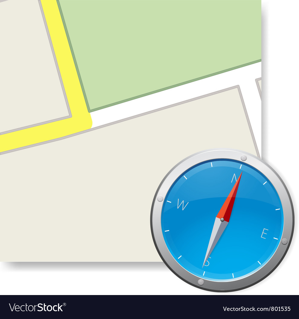 Compass and part of map illustraton vector | Price: 1 Credit (USD $1)
