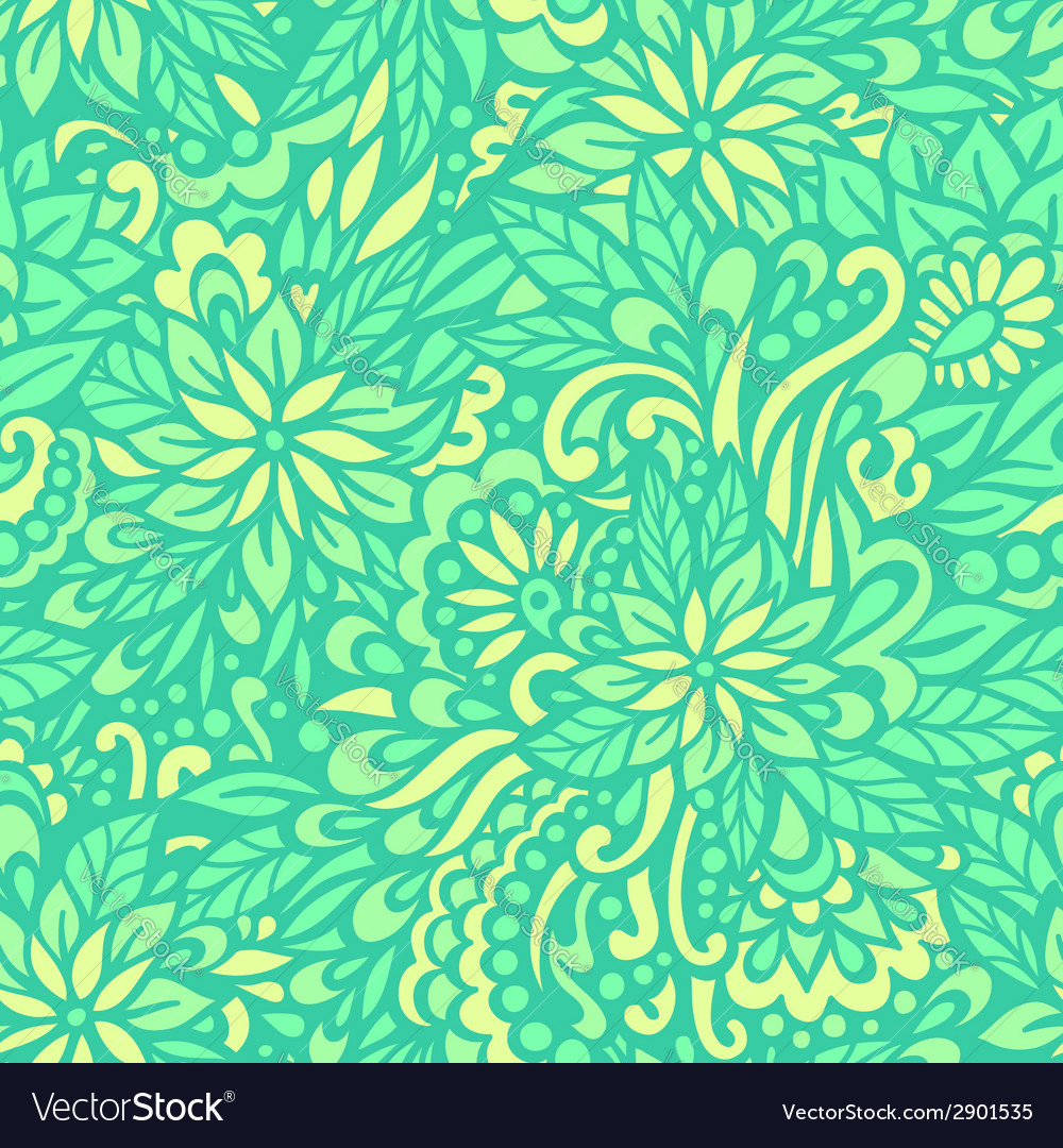 Green meadow seamless decorative pattern vector | Price: 1 Credit (USD $1)